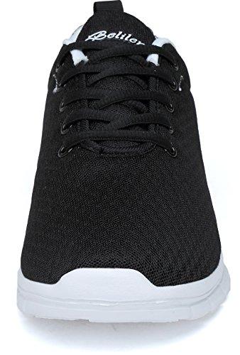 Belilent Mens Lätta Löparskor Andas Athletic Vardagligt Skor Mode Gå Sneakers Svart / Vit-073