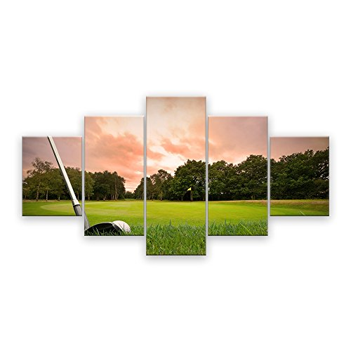 AMEMNY 5 Panel Wall Decor for Living Rooms Golf Club Painting Sunset Landscape Painting Canvas Art Home Decor Wall Artwork HD Prints for Home with Framed Stretched Ready to Hang