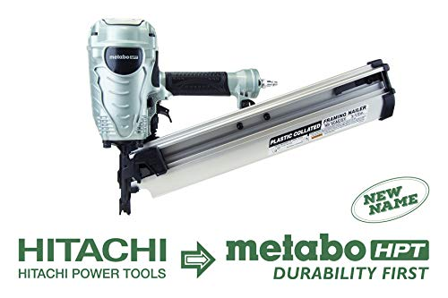 "Metabo HPT NR90AES1 21 Degree Pneumatic Framing Nailer, The Preferred Pro Brand of Pneumatic Nailers, Lightweight and Well-balanced, Easy Depth Adjustment, Accepts 2"" to 3-1/2"" Collated Framing Nails"