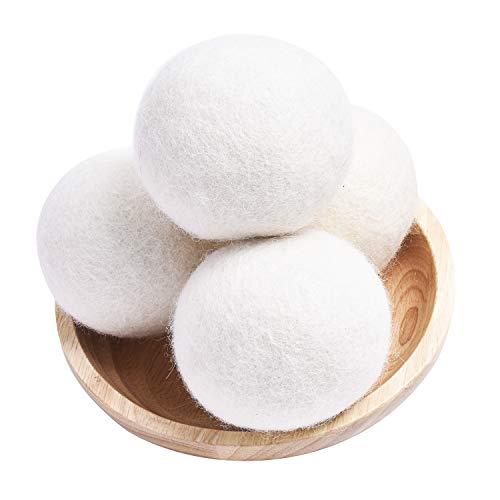 Wool Dryer Balls Laundry Organic XL, Eco Dryer Balls 4 Pack Natural Fabric Softener, 100% New Zealand Wool, Chemical Free Wool Dryer Balls Organic, Handmade Reusable Balls Reduce Wrinkles