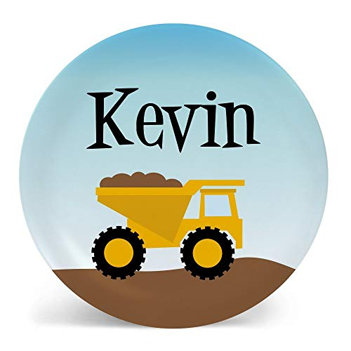 Dump Truck Plate or Bowl Custom Personalized with Childs Name