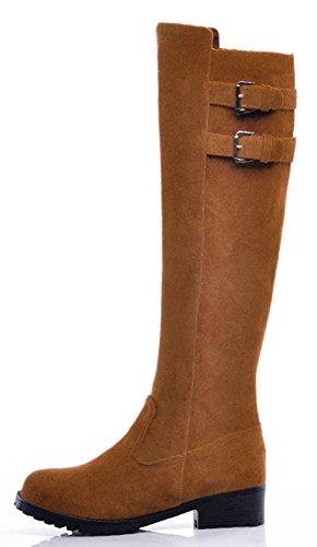 On Aisun High Toe Round Booties Yellow Pull Knee Women's Trendy xxfOXH