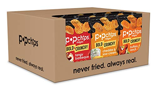 Popchips Ridges Potato Chips Variety Pack Single Serve 0.8 oz Bags (Pack of 24), Assorted Flavors