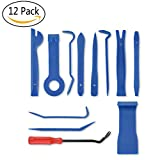 NaTape 12 pcs Auto Trim Removal Tool Car Trim Panel Clip Installation Tool Open Interior Pry Repair Door Panel and Dashboard Fascia Upholstery Installer for Radio Audio (Navy blue)