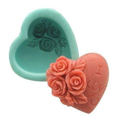 Hemore Valentine's Day Rose Heart Decoration Silicone Soap Mould Craft Handmde Soap Molds DIY Halloween Festival Holiday Decoration Gift