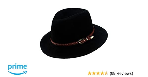 f4c12e26d14 Verashome Felt Panama Hat-Adjustable 100% Wool Fedora Brim Wide Band Vintage  Fit for Women and Men s Trilby for Autumn and Winter (Black) at Amazon  Men s ...