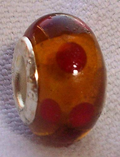 Amber Brown Red Polka Dot Murano Glass European Bead for Silver Charm Bracelets Crafting Key Chain Bracelet Necklace Jewelry Accessories Pendants