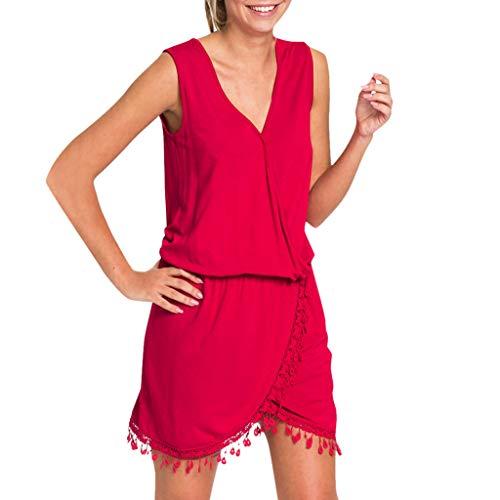 ONLYTOP_Clothing Casual Tank Dresses for Women,ONLYTOP Womens Summer Beach Sleeveless Swing Tassel Wrap T-Shirt Dress Red ()