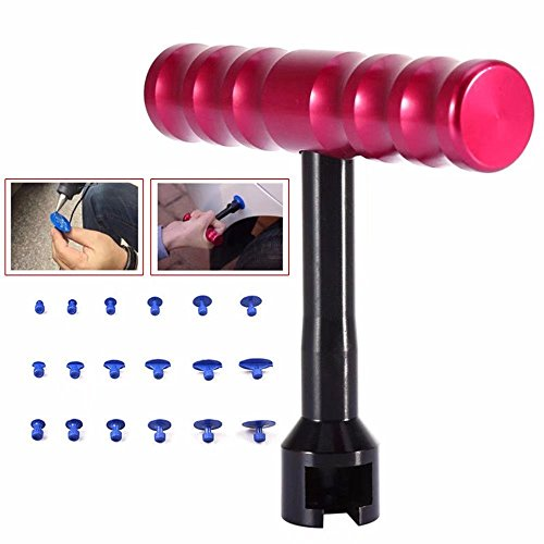 Paddsun 18Pcs Paintless Dent Repair Car Body Repair Kit Small Red T-Bar Puller Dent Puller Kit Suction Cups Fungi Glue - On To How Car Scratches Fix Light