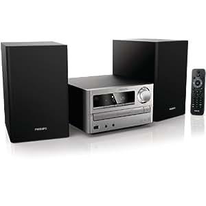 Philips MCM2000 - Microcadena (10 W, reproductor de CD, MP3 y WMA, radio FM, USB ), color negro