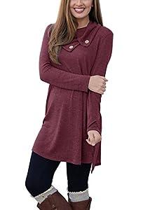 Our Precious Women's Long Sleeve Button Lapel Neck Sides Slit Shirt Dress
