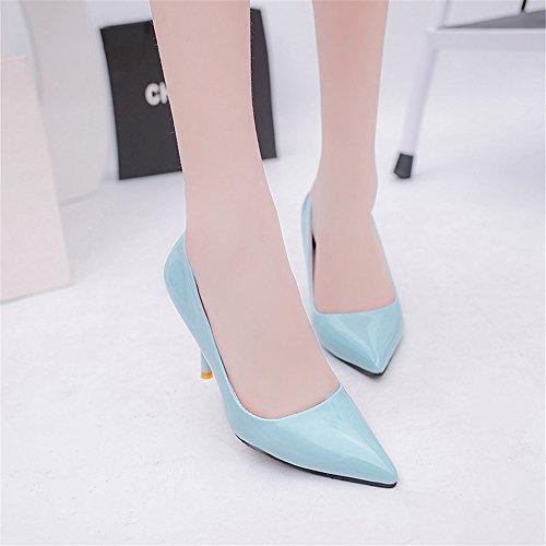 LIVY El nuevo club nocturno atractivo de alta con escogen los zapatos finos con la boca baja señaló modelos de zapatos de tacón alto de explosión Azul
