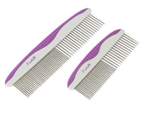 (Poodle Pet Dog Combs for Grooming | 2 Pack | Stainless Steel Teeth Easily Remove Dirt | Proper Care Prevents Knots and Mats for Long and Short Haired Pets |Anti-Slip Comfort Grip Handle| Purple)