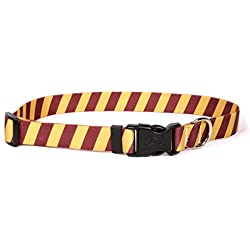"Yellow Dog Design Team Spirit Maroon and Gold Dog Collar with Tag-A-Long ID Tag System-Large-1"" Neck 18 to 28"""