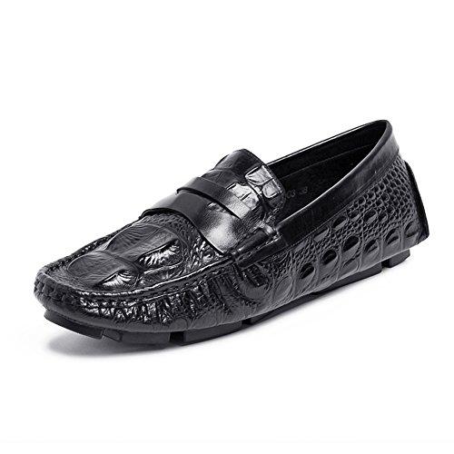 Santimon Heren Causale Alligator Graan Mocassin Schoenen Zwart-a