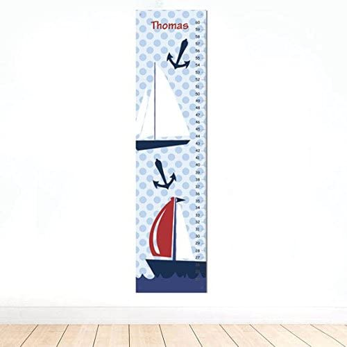 Amazon Com Kid O Sail Boat Personalized Height Chart For Young Nautical Wall Decor For Boys Bedroom Home Kitchen