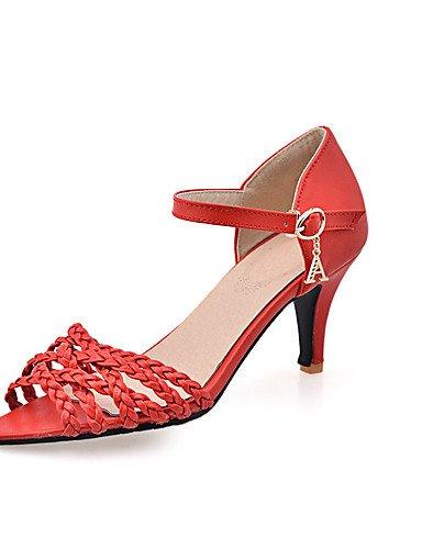 XZZ/ Damen-Stiefel-Kleid / Lässig-PU-Kitten Heel-Absatz-Absätze-Blau / Rot / Weiß red-us6.5-7 / eu37 / uk4.5-5 / cn37
