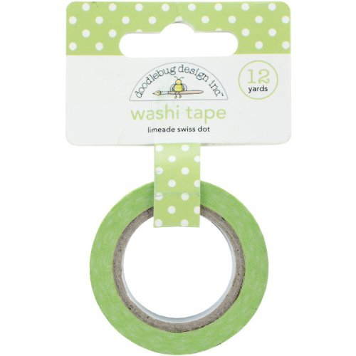 Doodlebug Washi Tape, 15mm by 12-Yard, Limeade Swiss Dot by DOODLEBUG (Limeade Dot)