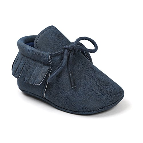 Sabe Unisex Baby Boys Girls Moccasins Soft Sole Tassels Prewalker Anti-Slip Loafer Shoes (6-12 Months, A-Deep Blue)