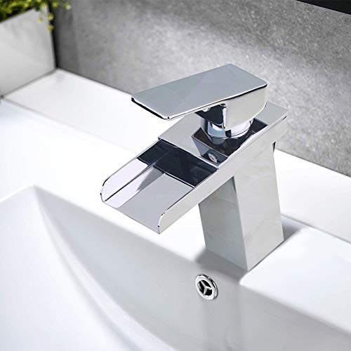 - Sccot Single Handle Waterfall Bathroom Vanity Sink Faucet with Extra Large Rectangular Spout, Modern Commercial Solid Brass Lavatory Basin Faucet Mixer Tap (chrome)
