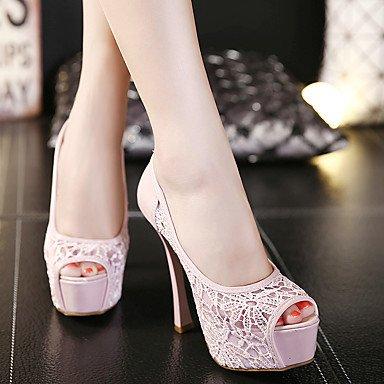 LvYuan Tacón Stiletto-Zapatos del club-Sandalias-Oficina y Trabajo Vestido Fiesta y Noche-Tul PU-Negro Rosa Almendra Pink