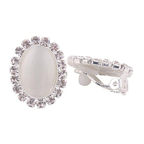 Bridal Rhinestone Opal Oval Shape Clip on Earrings for Women Charm Jewelry No Hole Ear Clip (beige)