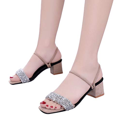 ERLOU Spring-Summer Women Ladies Rhinestone Sequins Beach Casual High-Heel Sandals Shoes Fashion 2019❤ (7.5, Khaki)