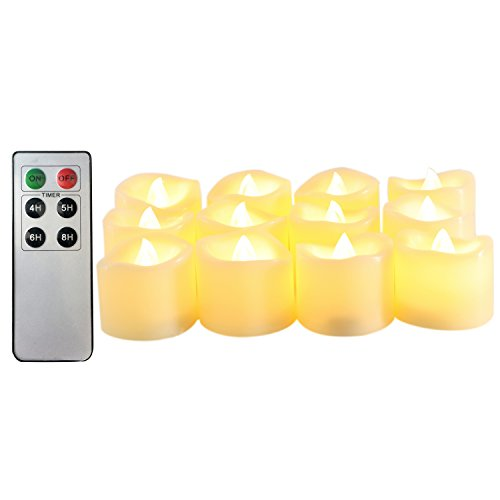 Candle Choice Flameless Candles Battery Operated LED Tealight Candles with Remote Control & Timer (Pack of 12), Yellow Light 1.5x1.5