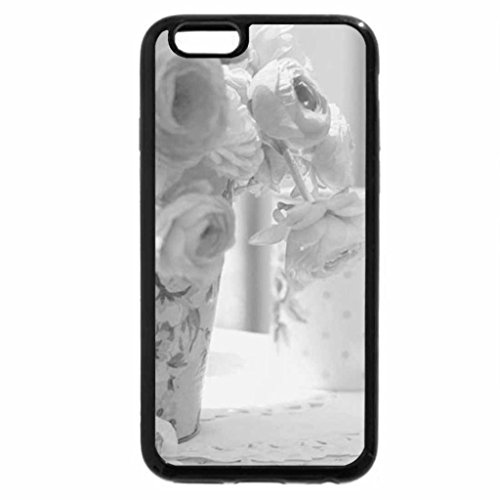 iPhone 6S Case, iPhone 6 Case (Black & White) - Soft Flowers