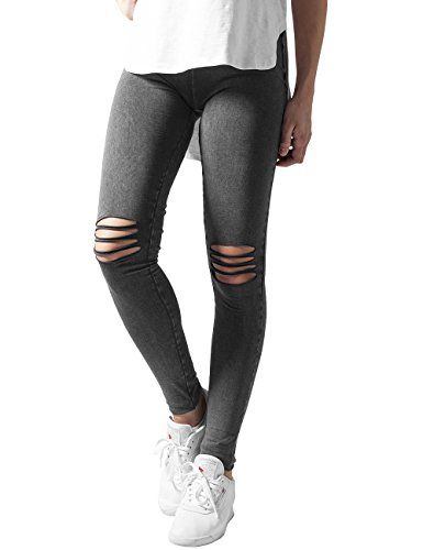 706 Cutted Classics Urban Acid Ladies Black Knee Leggings Donna Schwarz OTqzqwE
