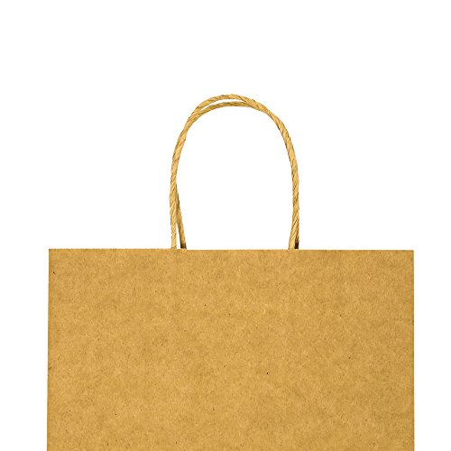 Bagmad Thicker Paper 50 Count 10x5x13, Large Kraft Paper Shopping Bags with Handles,Gift Natural Party Retail Craft Brown Bags,50PCS by Bagmad (Image #2)'