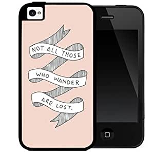 Not All Those Who Wander Are Lost Life Quote With White Ribbon And Pink Background Case For Sam Sung Galaxy S5 Mini Cover 2-piece Dual Layer High Impact Black Silicone Cover