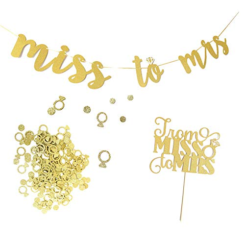 Bachelorette Decorations Kit Miss to Mrs Banner Glitter Ring Confetti Hen Party Cake Topper for Wedding and Engagement Party Supplies -