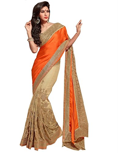 Stone Beige Work Party Satin Sarees Embroidery Jay Orange Net Sari Wear Lace tYS5wq