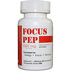 Addrena Focus Pep OTC Stimulants Brain Boosting Dietary Supplement, 1260 mg, 60 Tablets
