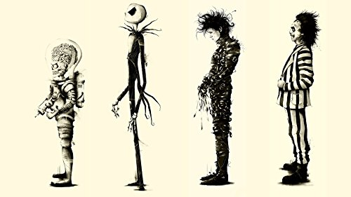 Twenty-three Tim Burton Movies Beetlejuice Fan Art Edward Scissorhands Fabric Canvas Poster Print 24X36Inch