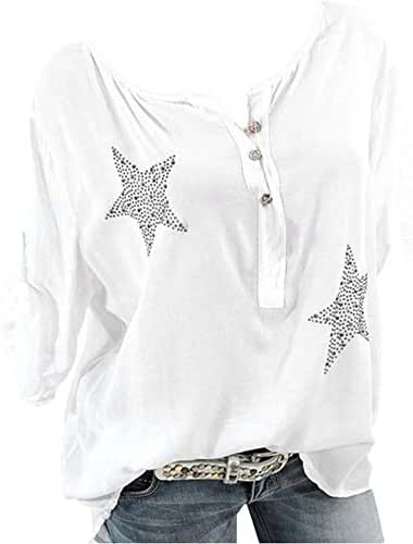 iNoDoZ Women's Button Five-Pointed Star V-Neck Hot Drill High Low Tee Shirt Plus Size Casual Tops Blouse