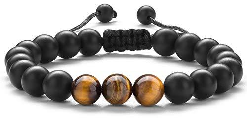 Hamoery Men Women 8mm Matte Tiger Eye Beads Bracelet Braided Rope Natural Stone Yoga Bracelet Bangle (Matte Tiger Eye)
