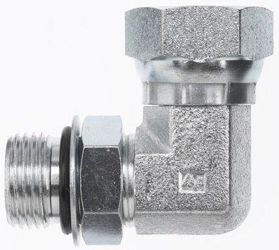 Brennan 6901-08-06-NWO-FG - 90° Elbow - 1/2 in Male O-Ring Boss x 3/8 in Female Pipe Swivel, Steel, Pack of 15