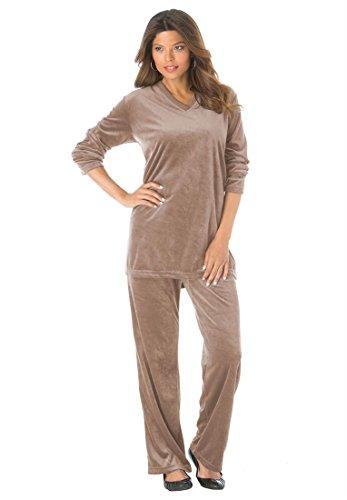 2eef1ff0c45ab Roamans Women s Plus Size Petite V-Neck Velour Jogging Suit (Brown ...