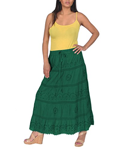 (KayJayStyles Full Length Womens Solid Embroidered Gypsy Bohemian Long Cotton Skirt (Dark Green))