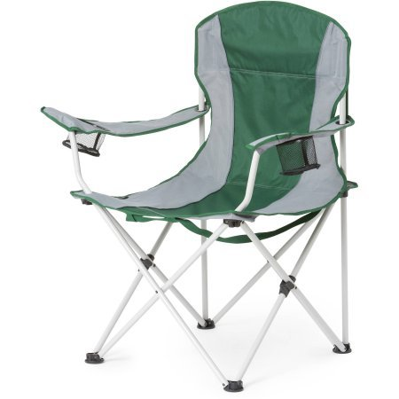 Ozark Trail Oversize Chair in Gray, 300lbs. Weight Capacity, Durable Steel Frame, With Two Built-in Cup Holders, Quick Strap System, Camping, Picnic, Tailgating