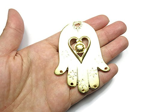 (Foxy Findings Hamsa Collection Large Matte Finish 24k Gold Plated Brass Heart and Star Hand of Fatima Charm 73mm Set of 1 CHG021)