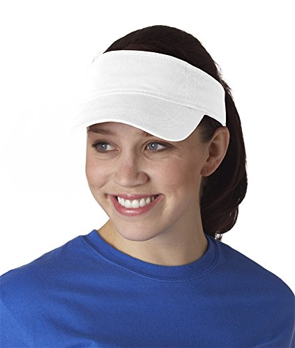 Twill Trim Visor (Anvil Unisex Low Profile Twill Visor / Headwear (One Size) (White))