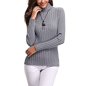 Abollria Women's Long Sleeve Solid Lightweight Soft Knit Mock Turtleneck Sweater Tops Pullover