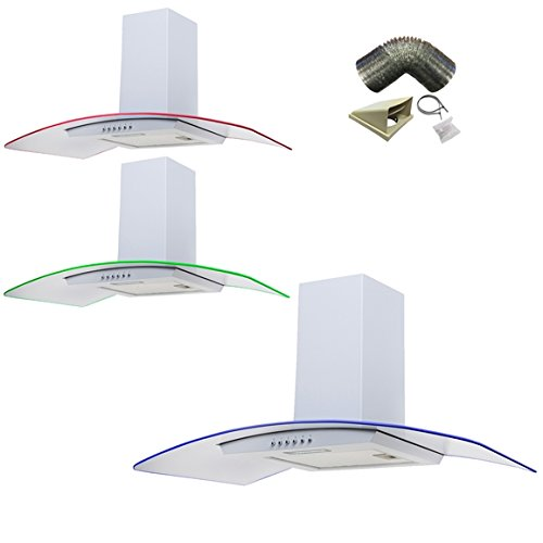 SIA 90cm 3 Colour LED Edge Lit Curved Glass White Cooker Hood + 3m Ducting Kit