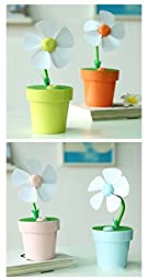 LIWUYOU Summer Flower Pot USB Quiet Mini Small Fan Creative Air Humidifier Fans for Office Home Color Green
