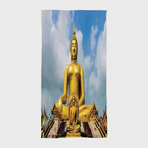 Cotton Microfiber Hotel SPA Beach Pool Bath Hand Towel,Asian Decor,The Biggest Golden Religious Statue at the Temple in Thai Sage Home Decor,Multi,for Kids, Teens, and Adults by iPrint