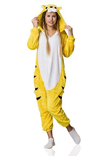 Adult Yellow Tiger Onesie Pajamas Kigurumi Animal Cosplay Costume Onsie Fleece Pjs (XL, yellow, white)