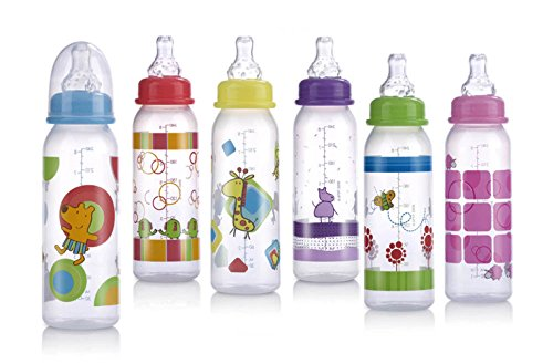 Nuby Printed Non-Drip Bottle, 8 Ounce, Colors May Vary - No Drip Bottle